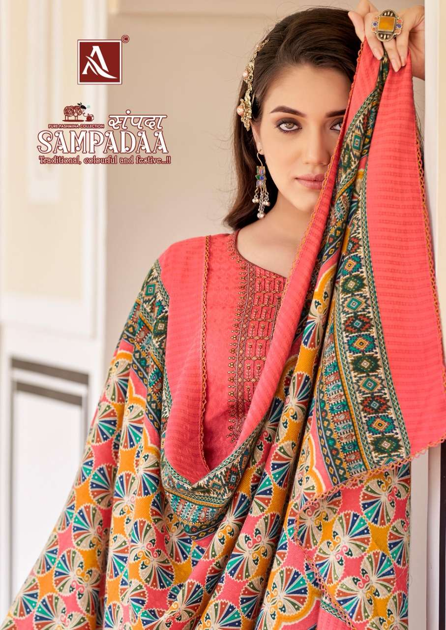 alok suits sampadaa pashmina designer suits catalogue online supplier surat