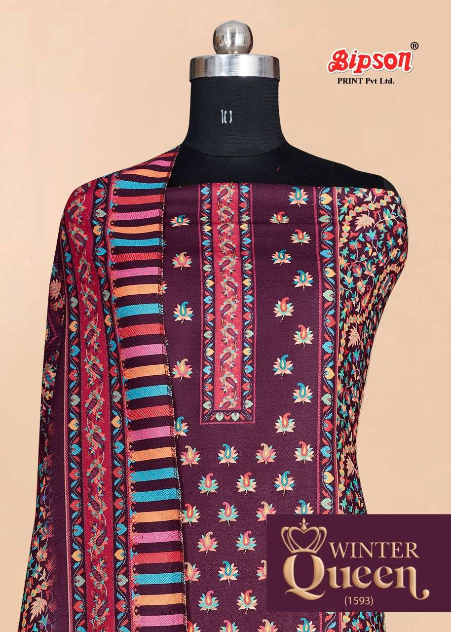 bipson prints winter queen 1593 series pashmina designer suits catalogue online supplier surat