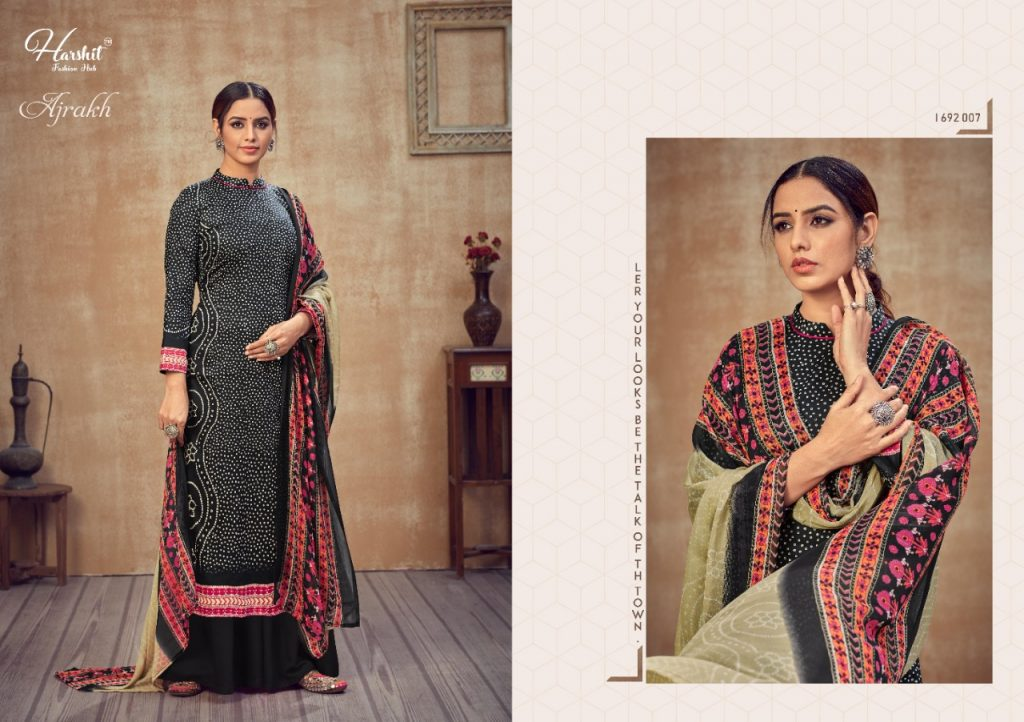 harshit fashion ajrakh wholesale salwar kameez collection pratham fashion