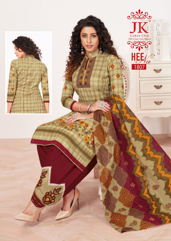 jk cotton club heena vol salwar kameez at pratham exports