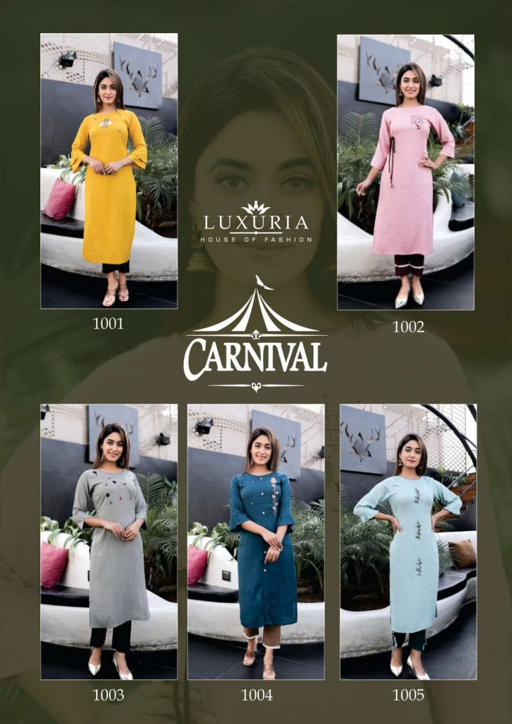 luxuria carnival catalog kurtis collection wholesale price at pratham exports