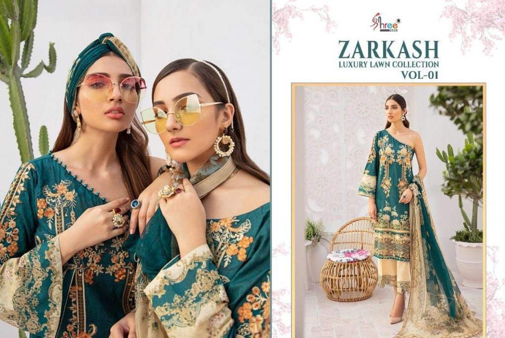 shree fabs zarkash luxury lawn collection vol catalogue pratham exports