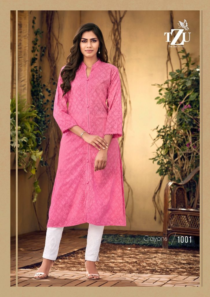 tzu crayons kurtis collection pratham fashion